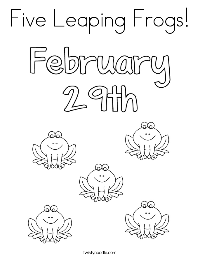 Five Leaping Frogs! Coloring Page
