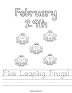 Five Leaping Frogs Handwriting Sheet