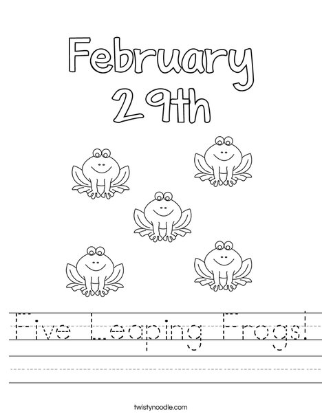 Five Leaping Frogs! Worksheet