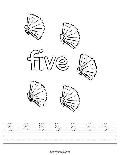 Five Shells Worksheet