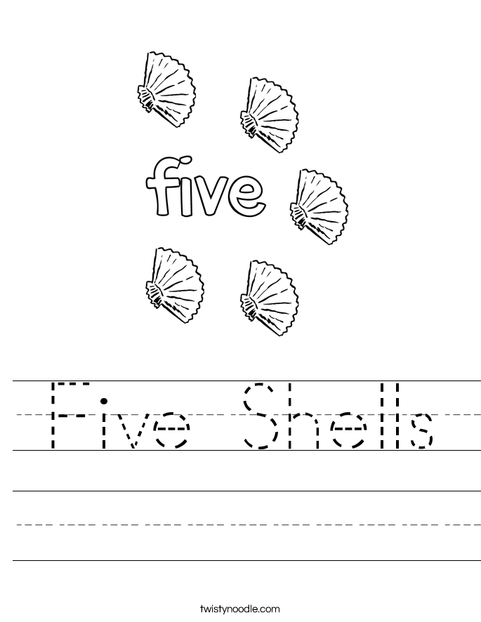 Five Shells Worksheet