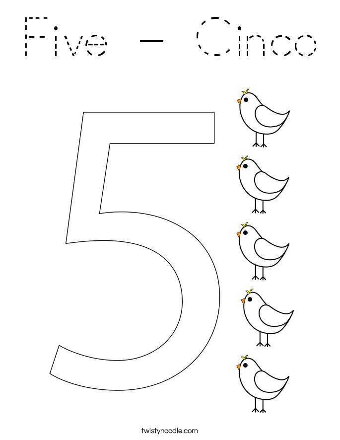 Five - Cinco Coloring Page