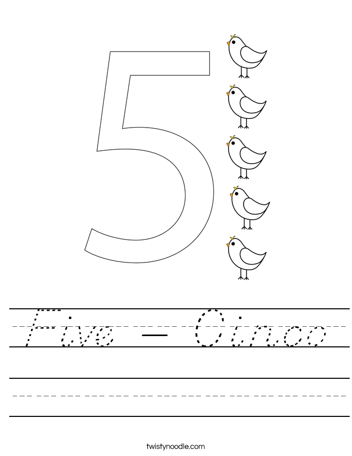 Five - Cinco Worksheet