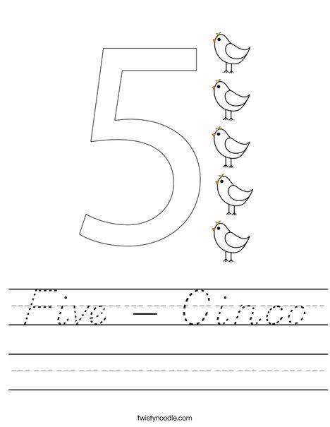 Elephant Five Worksheet