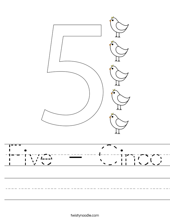 Five - Cinco Worksheet