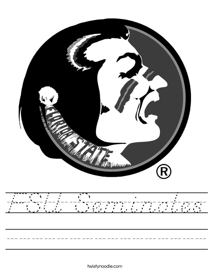 florida state seminoles coloring pages - fsu seminoles worksheet d 39 nealian twisty noodle
