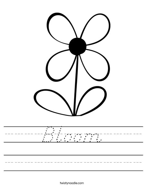 Flower with 4 Petals Worksheet
