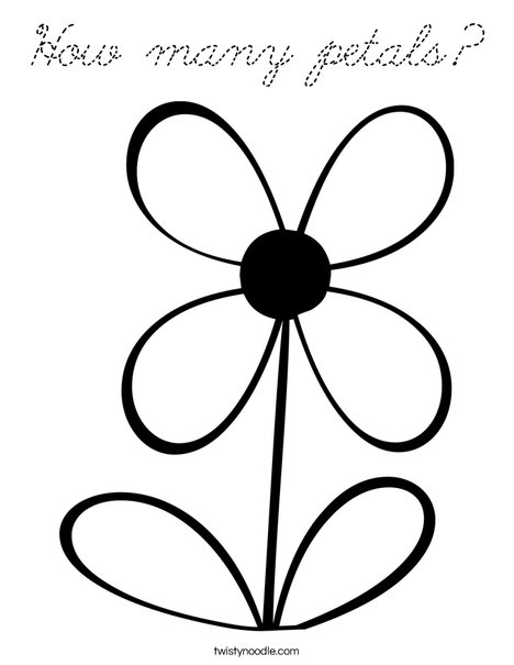 Flower with 4 Petals Coloring Page