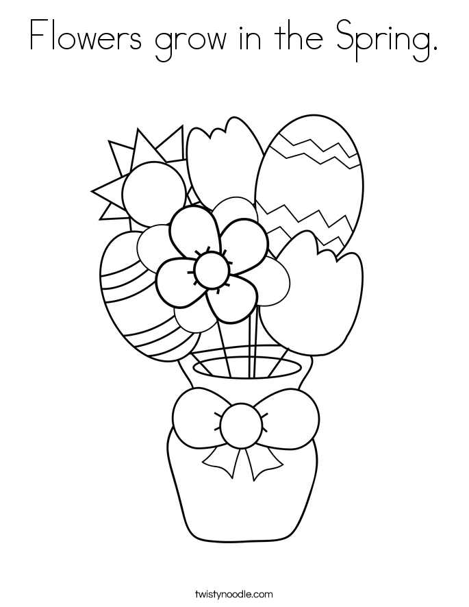 Flowers grow in the Spring. Coloring Page