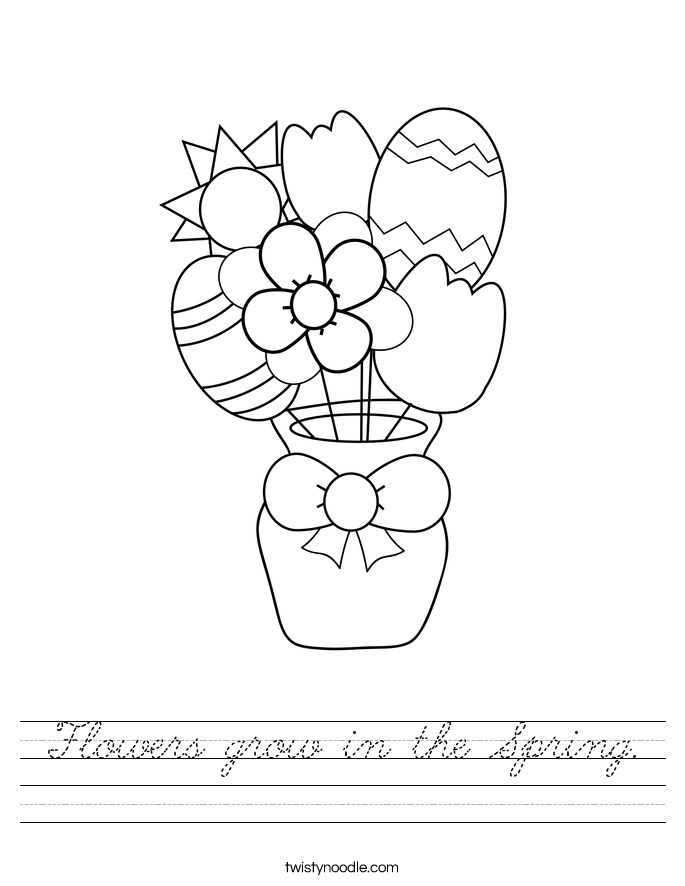 Flowers grow in the Spring. Worksheet