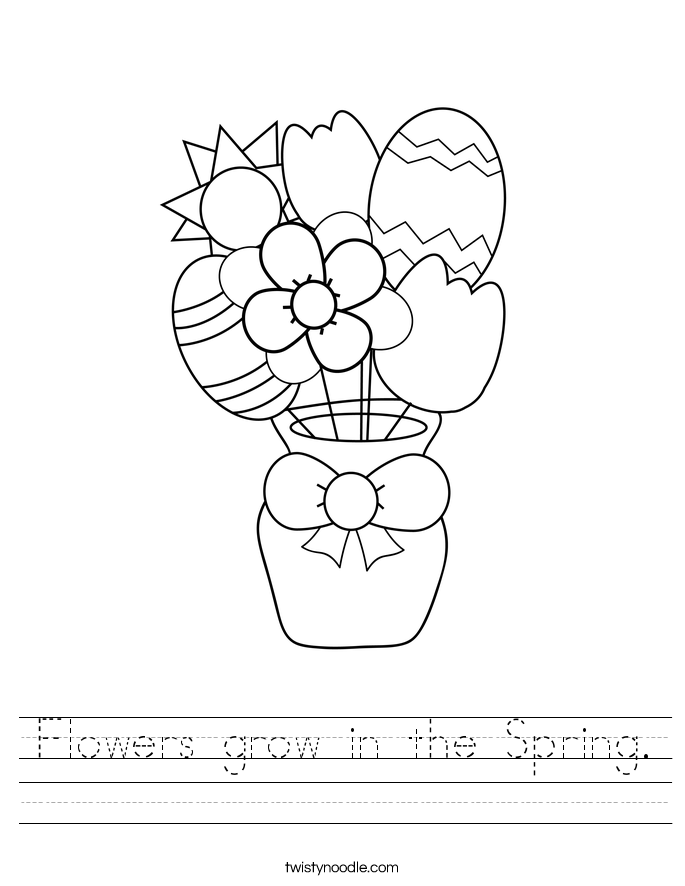 Flowers grow in the Spring. Worksheet