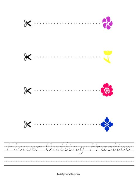 Flower Cutting Practice Worksheet