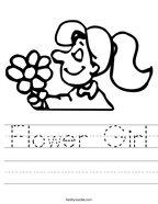 Flower Girl Handwriting Sheet