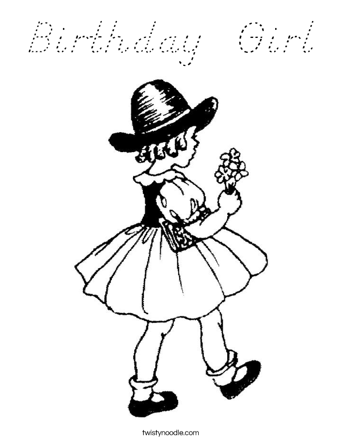 Birthday  Girl Coloring Page