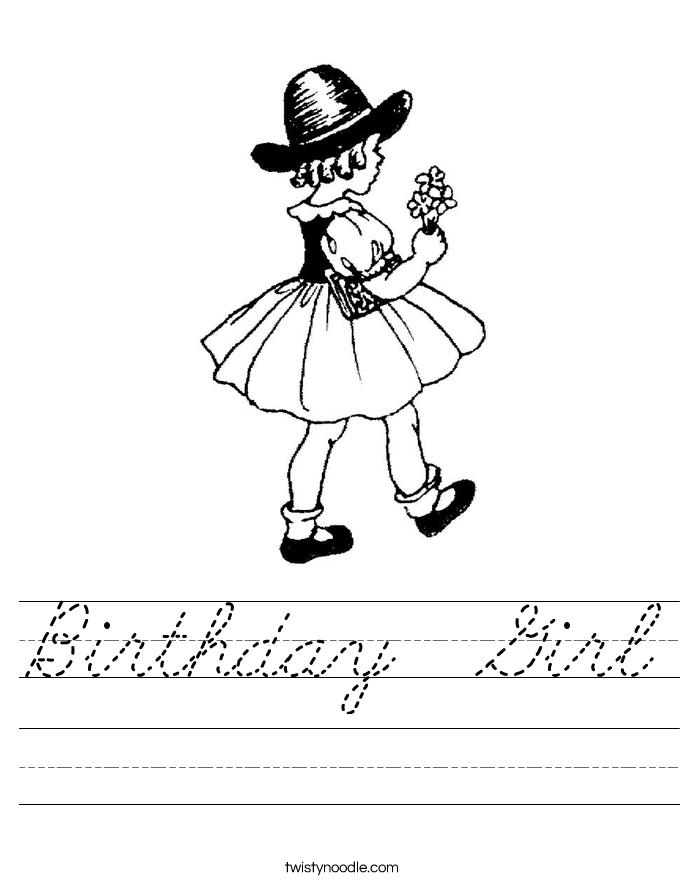 Birthday  Girl Worksheet