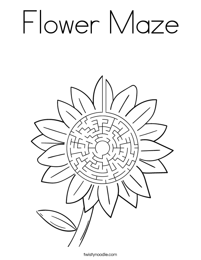 Flower Maze Coloring Page