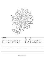 Flower Maze Handwriting Sheet