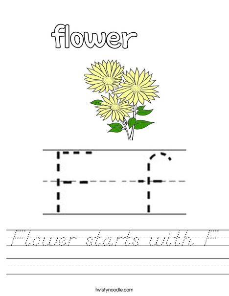 Flower starts with F Worksheet