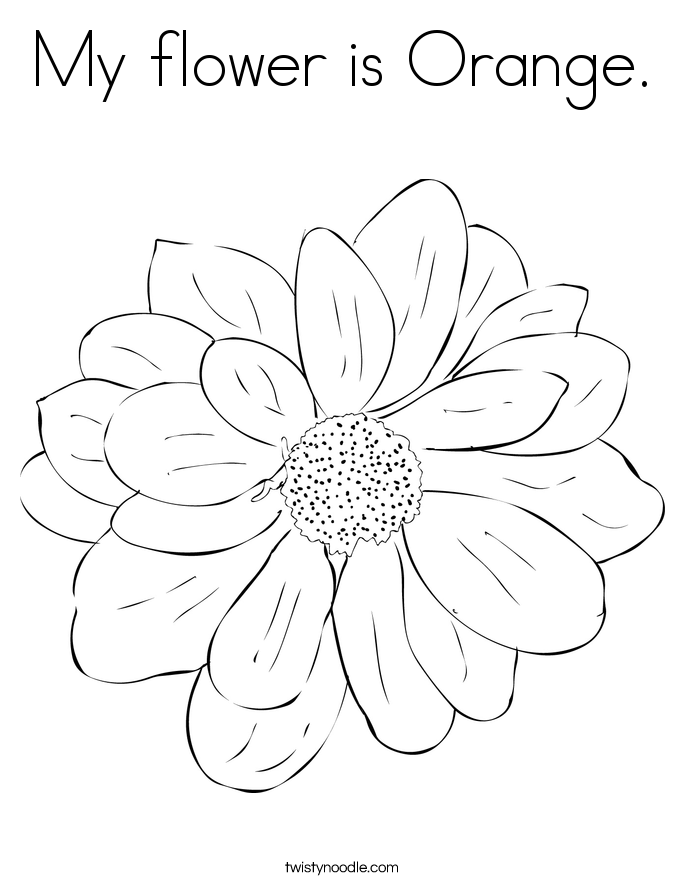 My flower is Orange. Coloring Page