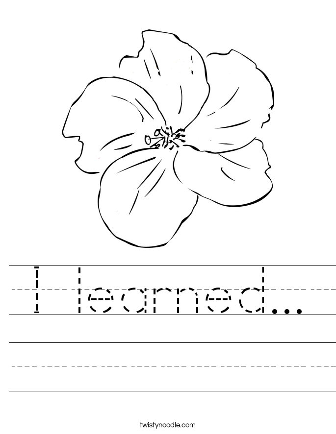 I learned... Worksheet