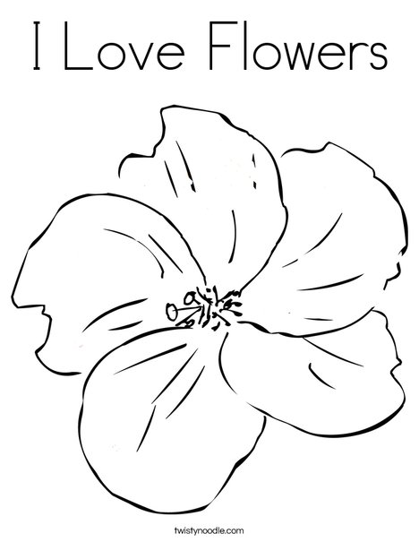I Love Flowers Coloring Page