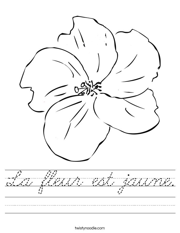 La fleur est jaune. Worksheet