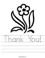 Thank You Handwriting Sheet