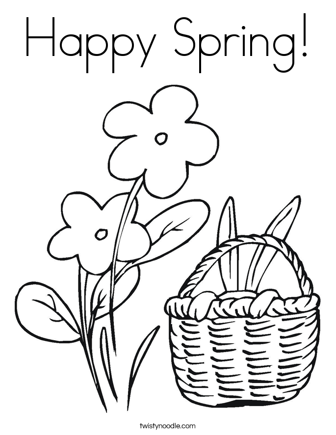 happy spring coloring page