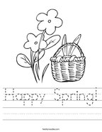 Happy Spring Handwriting Sheet