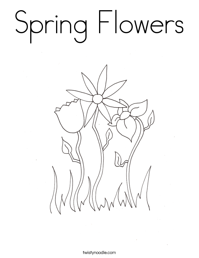 Spring Flowers Coloring Page - Twisty Noodle