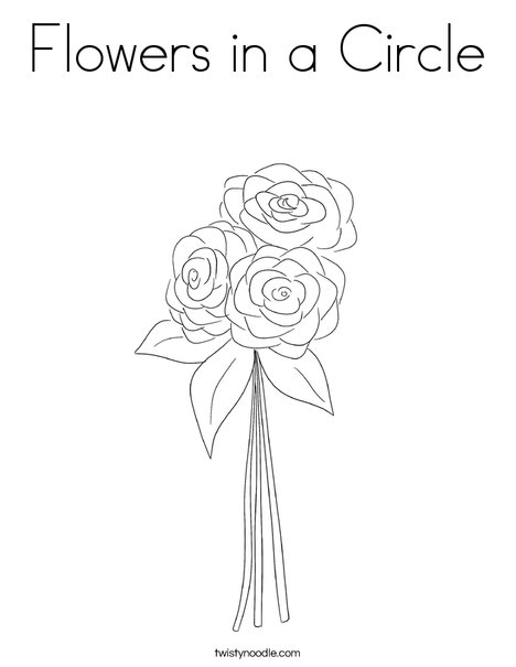 Flowers in a circle Coloring Page