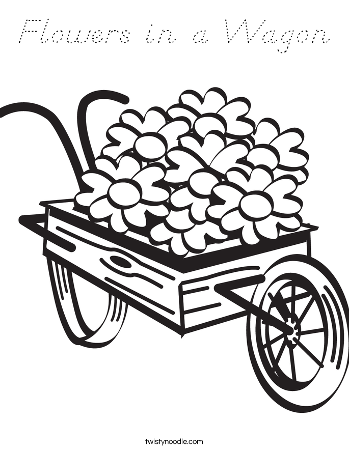 Flowers in a Wagon Coloring Page