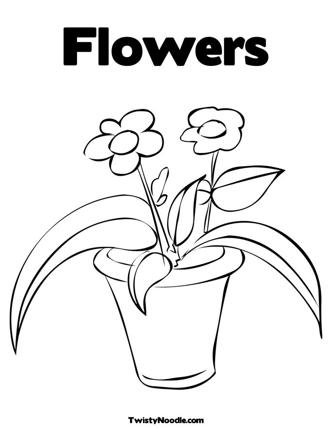 Flower Pot Coloring Page Free Flowers In Colouring Pages