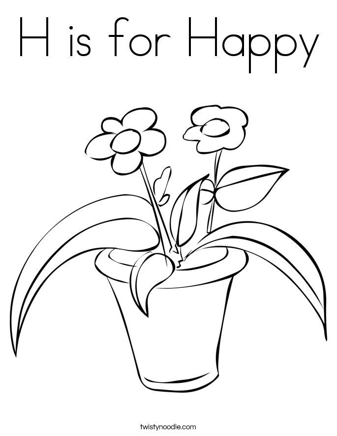 H is for Happy Coloring Page - Twisty Noodle