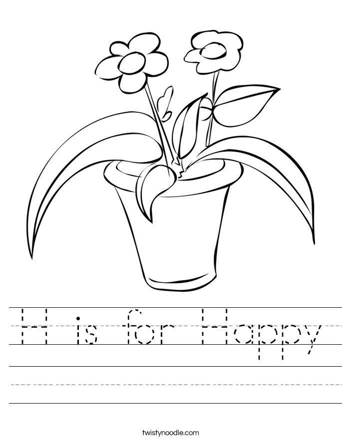 H is for Happy Worksheet