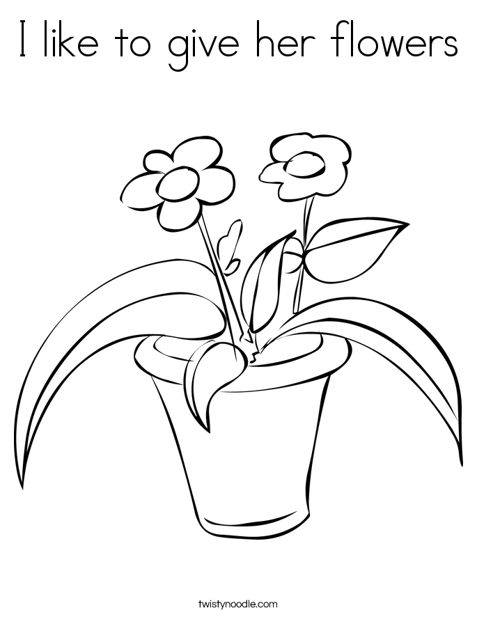 I like to give her flowers Coloring Page