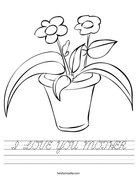 Flowers in a Pot Worksheet
