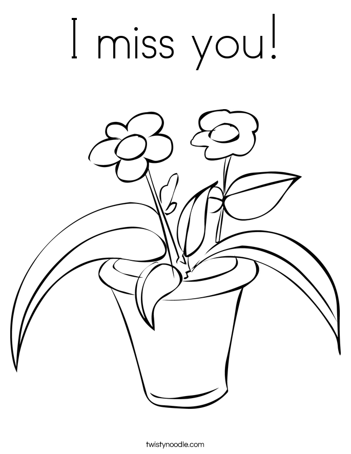 I Miss You Coloring Page Twisty Noodle I Miss You Coloring Pages