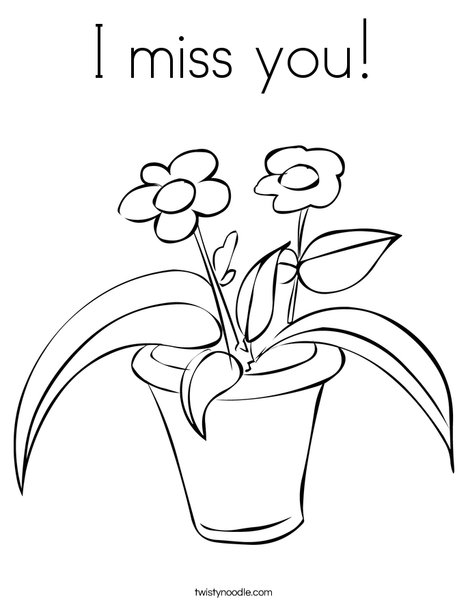 Flowers in a Pot Coloring Page