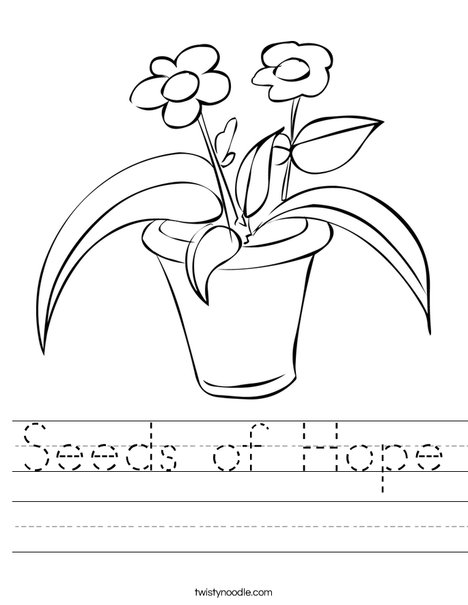 Flowers in a Pot Worksheet