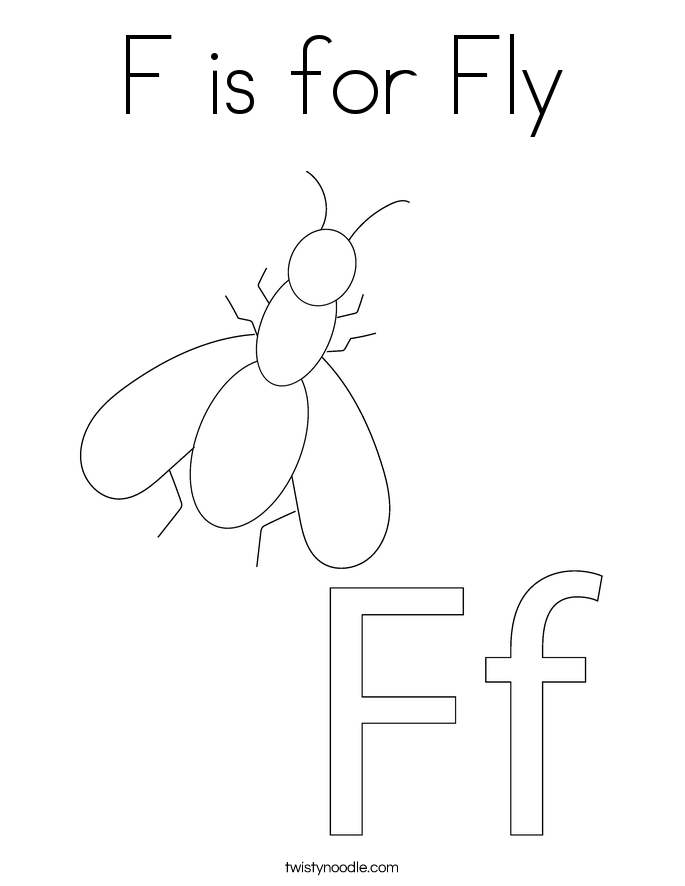 F is for Fly Coloring Page