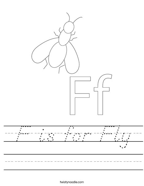 F is for Fly Worksheet
