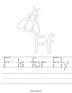 F is for Fly Handwriting Sheet
