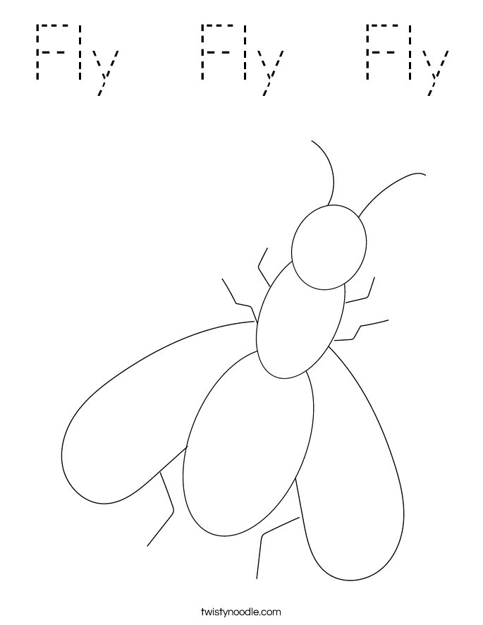Fly Fly Fly Coloring Page Tracing