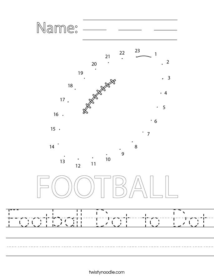 Football Dot to Dot Worksheet