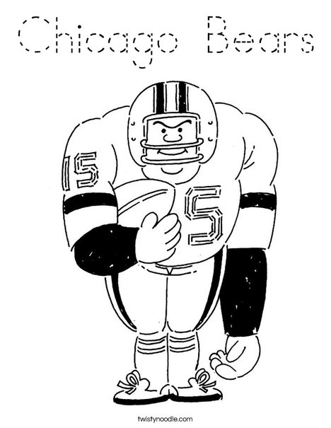 Chicago Bears Coloring Page - Tracing - Twisty Noodle