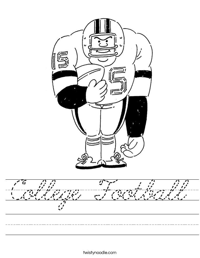 College Football Worksheet