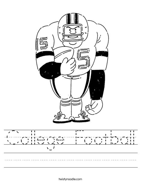 Big Football Player Worksheet