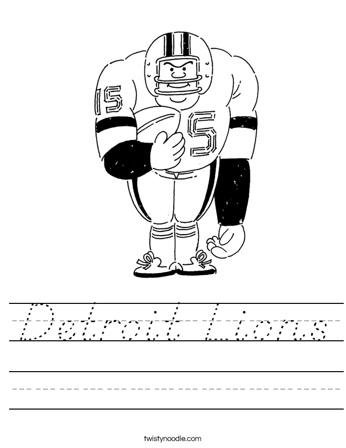 Detroit Lions Worksheet