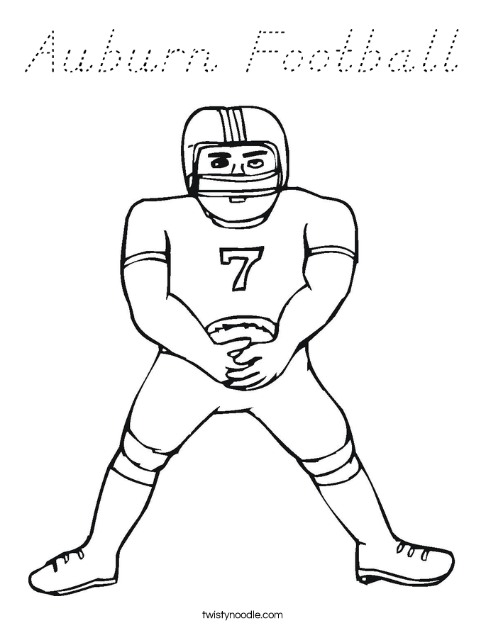 Auburn Football Coloring Page D Nealian Twisty Noodle Auburn Coloring Pages